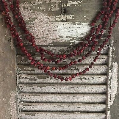 Primitive Early Look Dried Cranberry Garland 9' Long Log Cabin Christmas Decor