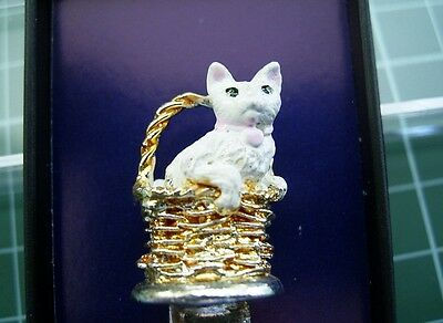 Silver Plated Hand Painted- CAT IN A BASKET Boxed Somerset Lane Collectors Spoon