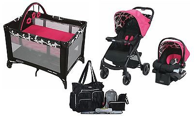 Graco Baby Stroller with Car Infant Seat Nursery Playard Travel System New