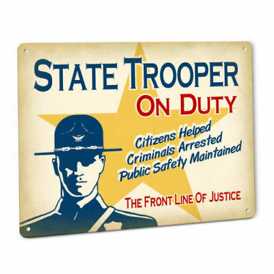 State Trooper SIGN in Smokey Bear Hat Uniform Vintage male Cop Law Officer