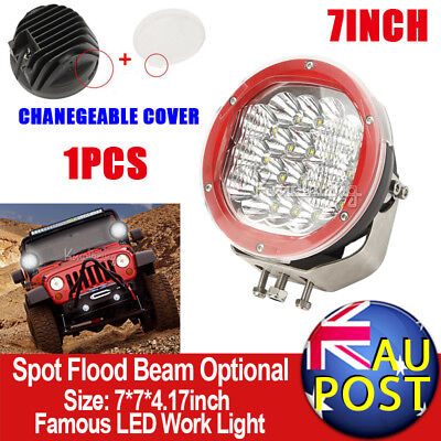 """7"""" 540W CREE Spot Flood Beam LED Driving Lamp Truck SUV Pickup With Mask Red"""
