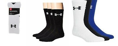 NWT !!! 3 PAIR  Men's UA ELEVATED PERFORMANCE Crew Socks  SIZE AND COLOR VARIETY