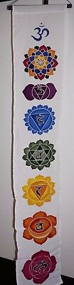 Chakra Symbols colors banner Inspirational Wall Hanging decor art yoga Aum Om