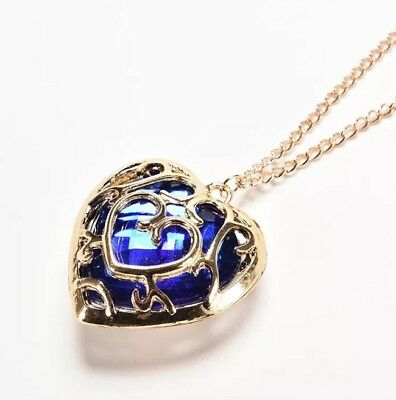 "The Legend of Zelda Blue Heart Container Necklace Link 2"" US Seller"