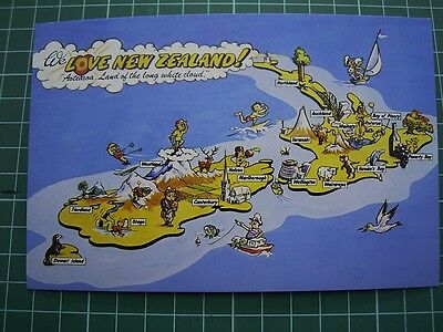 1980's  COMICAL POSTCARD - We Love NEW ZEALAND - Boats Birds Trees Sheep etc NEW