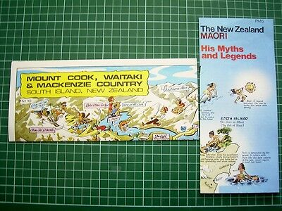 2 X 1980's MAPS - COMICAL MT COOK MAP plus MOARI MYTHS & LEGENDS - NEW ZEALAND