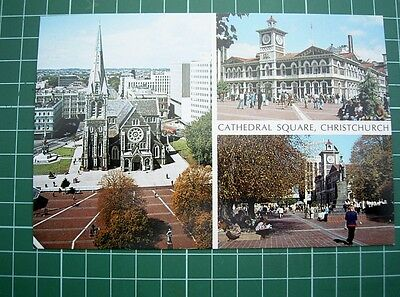 1980's POSTCARD - VIEWS CATHEDRAL SQUARE CHRISTCHURCH NEW ZEALAND - NEW