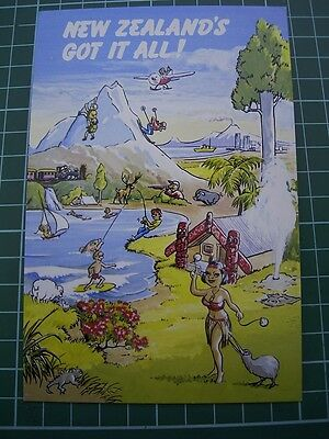 1980's  COMICAL POSTCARD - NEW ZEALAND'S GOT IT ALL - Sheep Snow Trees etc NEW