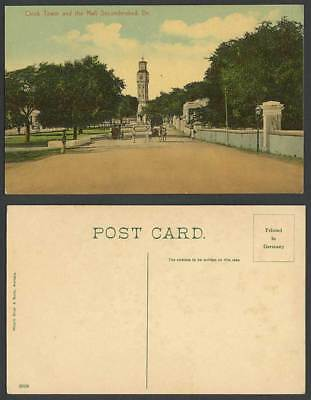 India Old Colour Postcard Clock Tower and The Mall Secunderabad Dn. Street Scene