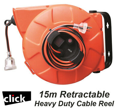 15m Retractable Heavy Duty Cable Reel Wall Mounted 10A