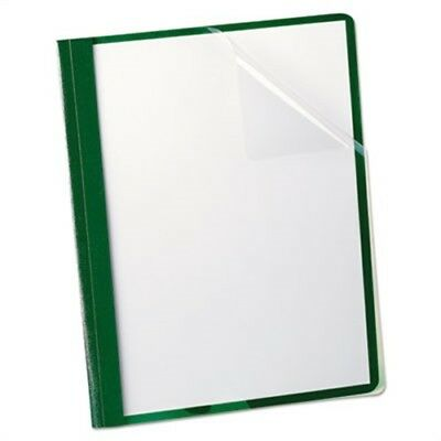 """Clear Front Report Cover, 3 Fasteners, Letter, 1/2"""" Capacity, Green, 25/Box"""