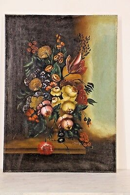 Big original Still Life painting artwork oil on canvas signed  antique Dutch