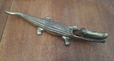 Large Vintage Brass Crocodile Nut Cracker 37cm Long