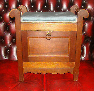 Piano Stool Vintage Antique with Storage Turned side bars Oak? Broadstairs