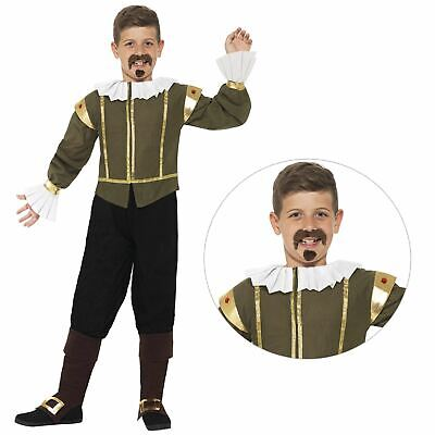 Kids Boys Historical William Shakespeare Poet Fancy Dress Book Week Day Costume