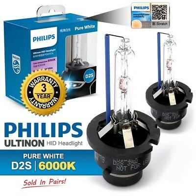 GENUINE Pair PHILIPS LED 6000K D2S Ultinon Pure White HID Headlight Bulb Lamps