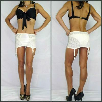 VINTAGE 60s LACIES BY SIMONE Small lace spandex OPEN BOTTOM GIRDLE WHITE GARTERS