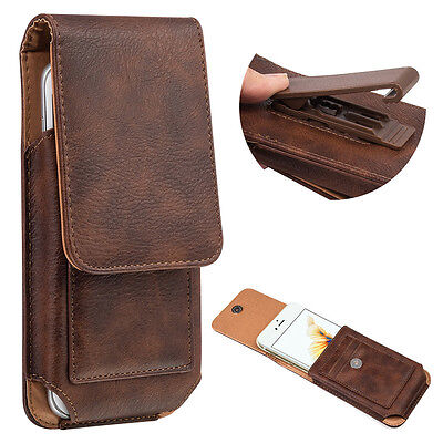 Vertical Leather Belt Pouch Case Cover Wallet Holster Belt Clip For Cell Phone