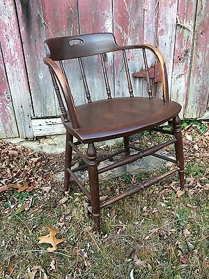 Antique Newell Tarbox Portland Maine Oak Firehouse Spindle Chair All Original
