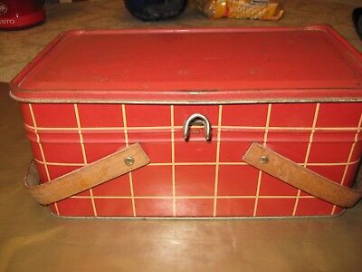 Vintage Red Picnic Tin with Attached Lid with Latch and Wood Handles