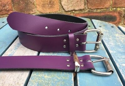 """Purple Belt Real Leather Handmade Choice of Buckles & Widths 3/4"""" - 1 1/2"""" Wide"""