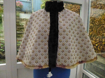 Victorian Style Cape With Brown Faux Fur Trim