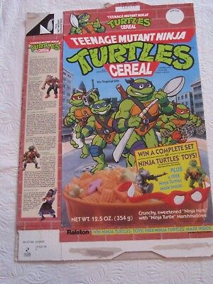Ralston Tmnt Teenage Mutant Ninja Turtles 1990 Cereal Box Vintage Old