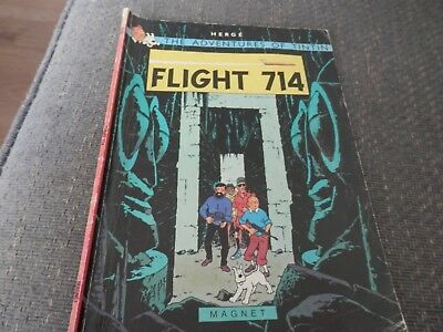 Vintage Herge's  Adventures of Tintin, Flight 714, paperback comic book.1979