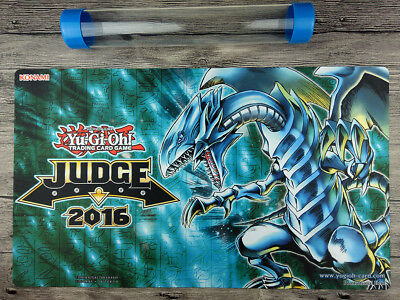 YuGiOh 2016 Judge  Blue-Eyes White Dragon Cusom Playmat TCG Mat Free Tube