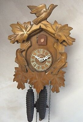 """Swiss Made 2 Weights Driven Movement Carved Wood Case Cuckoo Clock GWO 9""""L"""