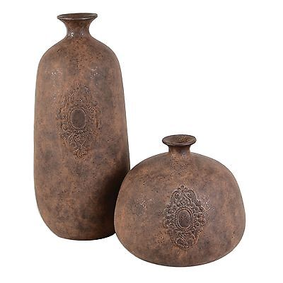 Terra Cotta Medallion Antique Style Vase Set 2 | Pair Rustic Vintage Ornate