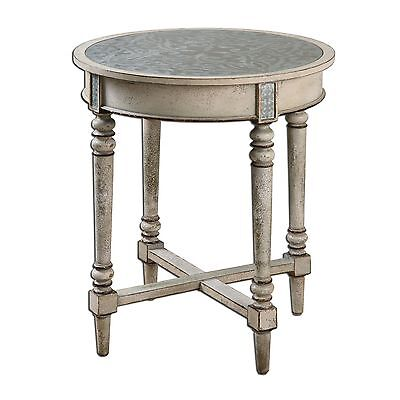 Elegant Tall Round Accent Table Ornate Scroll Top|Cottage Vintage Antique Style
