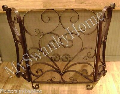 Horchow CLASSIC SCROLL Iron FIRESCREEN Fireplace Screen Scroll Antique Bronze
