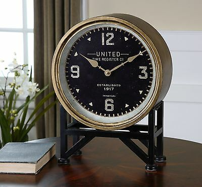 Retro Brass Black Round Table Clock | Mantel Metal Vintage