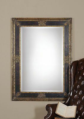 Ornate Extra Large Black Gold Wall Mirror | Masculine Antique