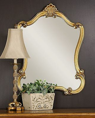 Ornate Gold Shaped Arch Wall Mirror   Antique Victorian Design