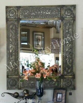 "Oversize 60"" ANTIQUE Embossed METAL Extra Large Wall Mirror Leaner Neiman Marcus"