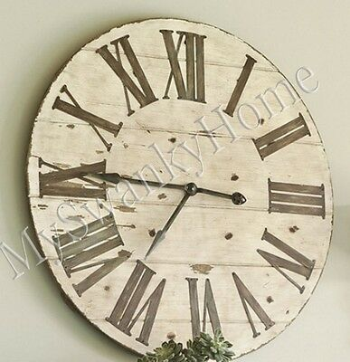 "Large 36"" Lanier COTTAGE Rustic Wood Wall Clock Neiman Marcus Lodge Ranch Light"
