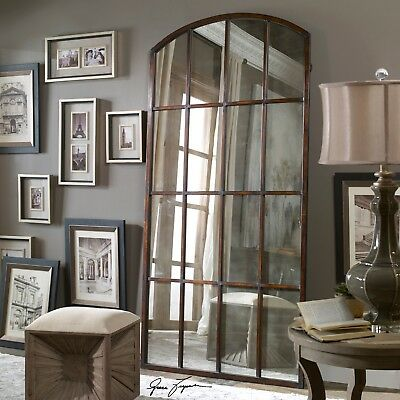 Extra Large Antiqued Window Arch Mirror Wall Leaner 82 Oversize Horchow Neiman