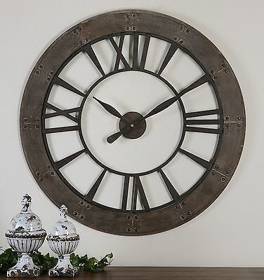 Rustic Round Iron Bronze Wood Wall Clock | Large Open Design Distressed