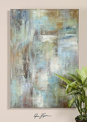 """70"""" Extra Large Abstract Blue Oil Painting 