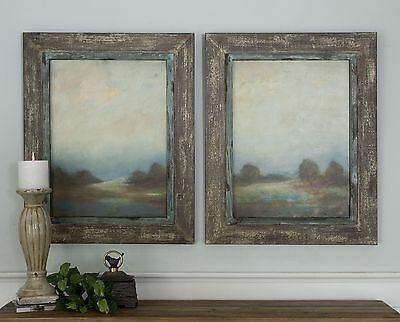 Country Landscape Rustic Wall Art Set   Reclaimed Wood Frames