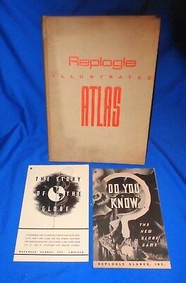 Vintage 1937 Replogle Illustrated ATLAS Hard Cover Book Nice Take a LOOK !!!!!!