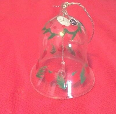 Vintage Glass Bell Christmas, Painted Bell cranberry Ornament very nice