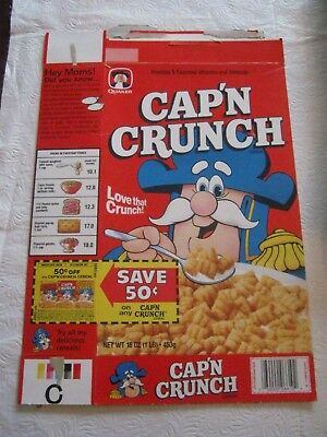 Quaker 1987 Capn Crunch  Cereal Box Vintage Old Vintage
