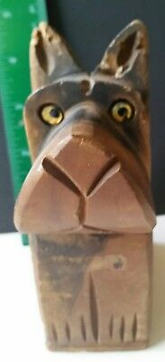 Wooden Coin Bank Carved Dog. Pre-owned. Includes USPS Priority Mail.