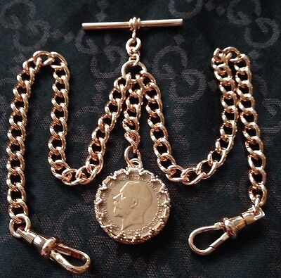 George V Coin Fob Rolled Rose Gold Double Albert Pocket Watch Chain