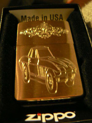 1965/67 CORVETTE SCROLL WORK HAND CARVED/ENGRAVED by K.SMITH BRASS ZIPPO LIGHTER