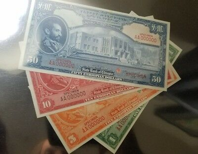 1 , 5 , 10 and 50 dollars Specimen set 1945 color Trail from Ethiopia unc