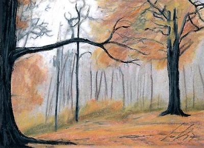 ACEO original pastel drawing landscape forest autumn  by Anna Hoff